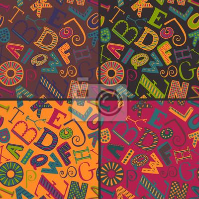 Set von vier Farbvariationen nahtlose Muster mit Hand gezeichnet fancy Alphabet