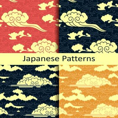Fototapete Set von vier japanischen traditionellen bewölkten Mustern