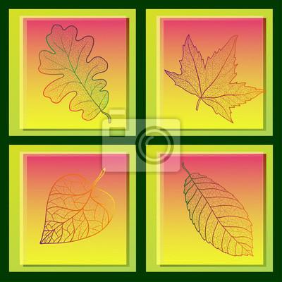 Set von vier Karten mit bunten Blätter im Herbst.
