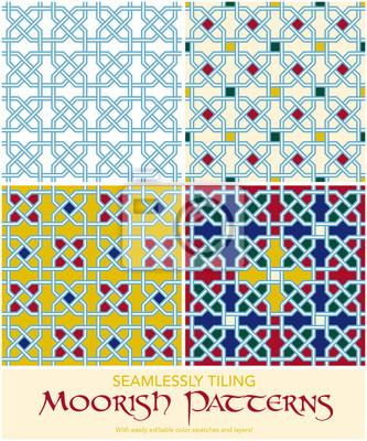 Set Von Vier Nahtlose Fliesen Maurischen Muster Fototapete - Fliesen maurisch