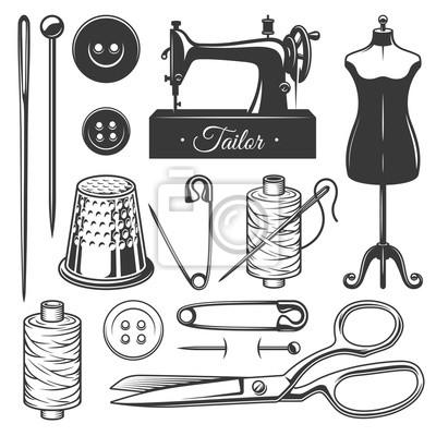 Fototapete Set von Vintage monochrome Schneider Werkzeuge. Designer-Toolkit. Vervollkommnen Sie für Firmenzeichen, Aufkleber, Embleme und andere Zeichen