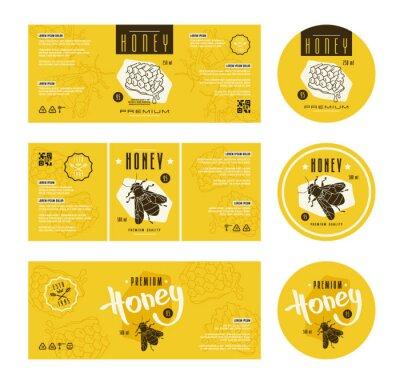 Set von vorlagen etikett für honig fototapete • fototapeten Prämie ...