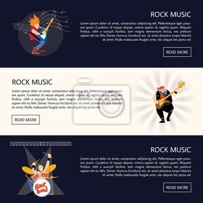 Set von vorlagen von bannern mit rock-musiker spielen verschiedene ...
