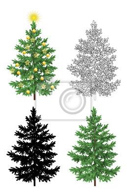 Fototapete Set von Weihnachtsbäumen, mit Holiday Dekorationen, Gold-Sterne und Bälle, Green Naturalistic und Schwarz Konturen Konturen und Silhouetten Isolated On White Eps10, enthält Transparenzen. Vektor