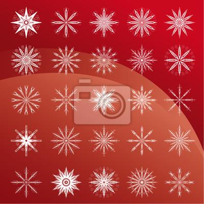 Set von weißen Schneeflocken