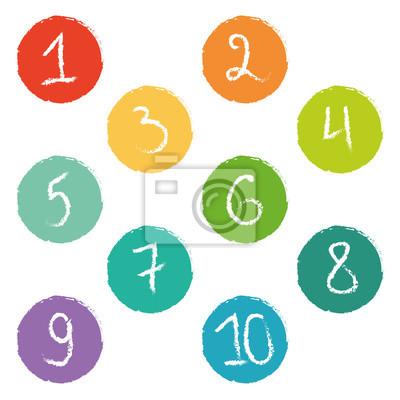 Set von zehn bunten Zahl Kreise