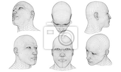 Fototapete Set with a polygonal head of a man 3D