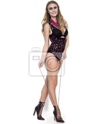 7246387c852 Fototapete Sexy Frau Porträt tragen elegante Dessous und Zeichnung Schuh la