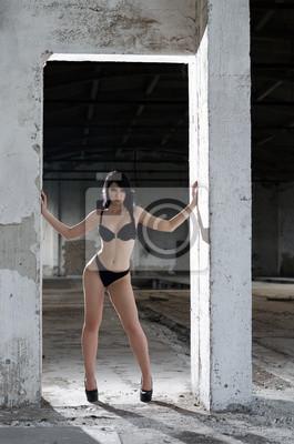 a6cf97979209f2 Sexy mädchen in dessous posiert in verlassenen fabrik fototapete ...