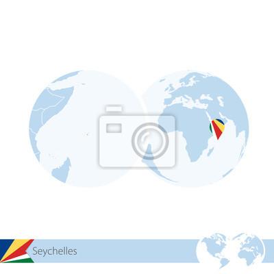 Karte Seychellen.Fototapete Seychellen Auf Weltkugel Mit Fahne Und Regionaler Karte Von Seychellen