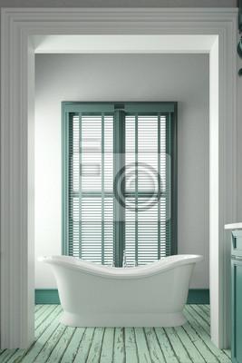 Shabby chic badezimmer in grün fototapete • fototapeten ...