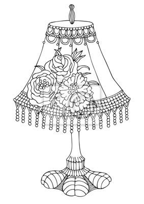 Shabby chic lampe. hand gezeichnetes bild. skizze für anti-stress ...