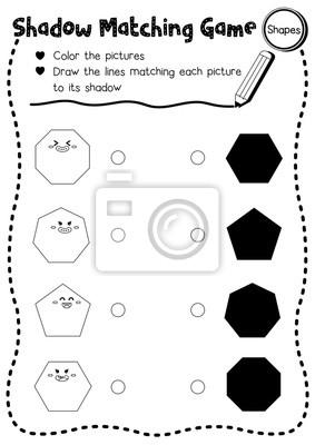 Shadow matching spiel von formen für vorschule kinder aktivität ...
