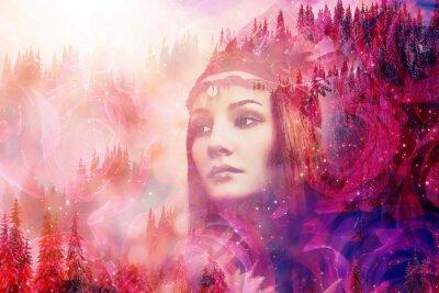 Fototapete Shaman woman in winter landscape, artist collage.
