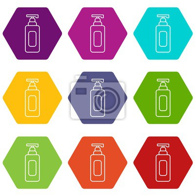 Shampoo dispenser icons 9 set coloful isolated on white for web