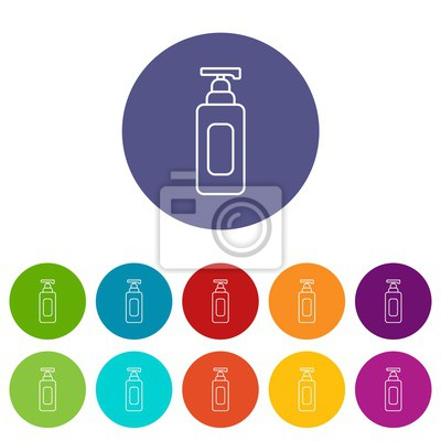 Shampoo dispenser icons color set vector for any web design on white background