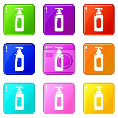 Shampoo dispenser icons set 9 color collection isolated on white for any design