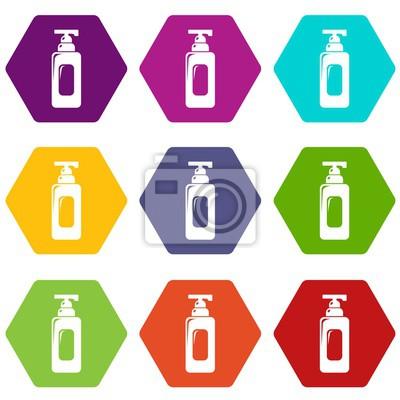 Shampoo-Spender-Icons 9 gesetztes coloful lokalisiert auf Weiß für Netz