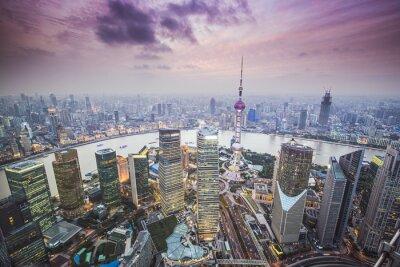 Fototapete Shanghai, China Luftaufnahme
