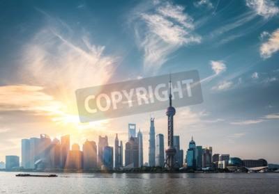 Fototapete Shanghai in sonnigen morgen, huangpu fluss und pudong skyline