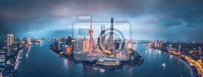 Fototapete Shanghai skyline at night