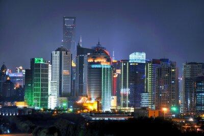 Fototapete Shanghai Skyline bei Nacht