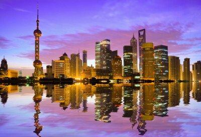 Fototapete Shanghai Skyline in der Morgendämmerung
