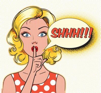 Fototapete Shhh Blase. Pin up Frau, die ihre Zeigefinger auf ihre Lippen für ruhiges Schweigen. Pop-Art-Comics-Stil. Abbildung
