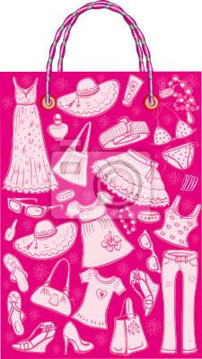 Shoping Tasche mit Frau Sommer Kleidung und Accessoires