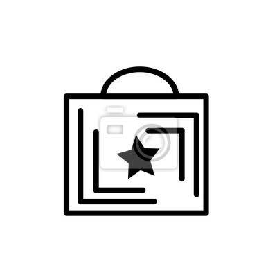 Shopping Bag Icon Line Outline Style Isolated On White Background