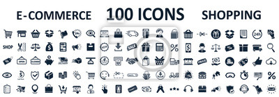 Fototapete Shopping icons 100, set shop sign e-commerce for web development apps and websites - stock vector