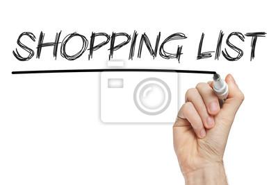 Shopping-Liste auf Whiteboard geschrieben