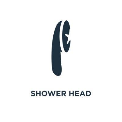 Shower Head icon. Black filled vector illustration. Shower Head symbol on white background.