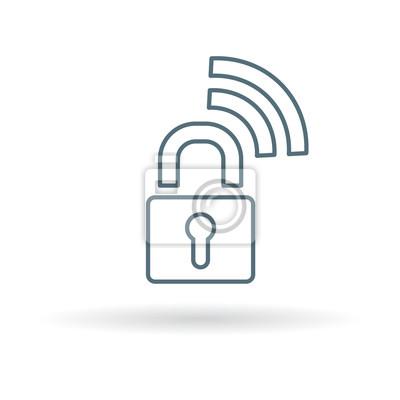 Sichere wireless-symbol. sicheres wifi vorhängeschloss zeichen ...