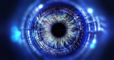 Fototapete Sicherheit Zugang Technologie / Auge Betrachtung der digitalen Informationen durch Kreise und Zeichen, Hintergrund Schärfentiefe dargestellt. Technologiekonzept