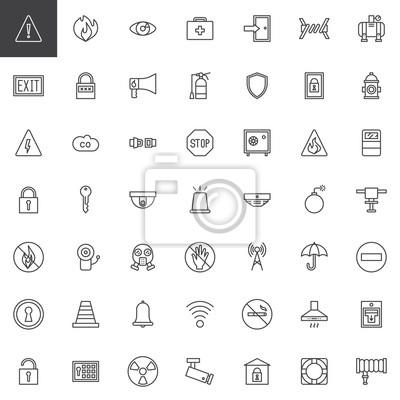 Sicherheitsschutzelementlinie ikonen stellte ein, umreißen ...