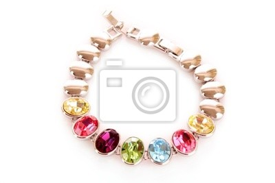 Silber und Diamanten Armband mit Farbe Steinen auf backgroundwhi