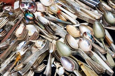 Fototapete Silberbesteck Auf dem Trödelmarkt