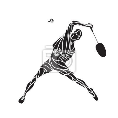 Silhouette abstrakt male Badmintonspieler