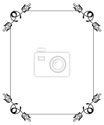Silhouette blumenrahmen. einfache schwarz-weiß-frame mit abstrakten ...