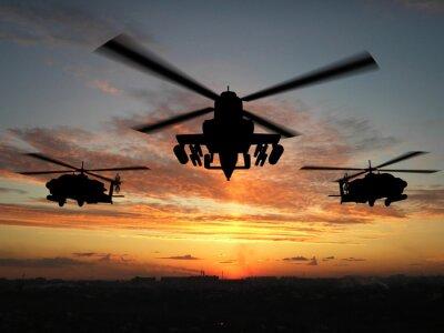 Fototapete Silhouette der Hubschrauber
