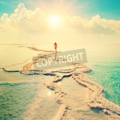 Fototapete Silhouette der jungen Frau zu Fuß auf dem Toten Meer