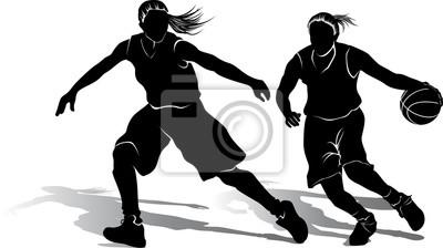 Silhouette der Mädchen-Basketball-Spieler