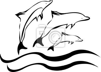 Silhouette der Tanzdelphine auf dem Meer beim Reisen