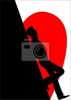 Silhouette Der Verliebten Mann Gegen Herz Fototapete Fototapeten