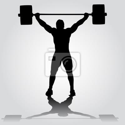Silhouette des athleten tut snatch übung. gewichtheben fototapete ...