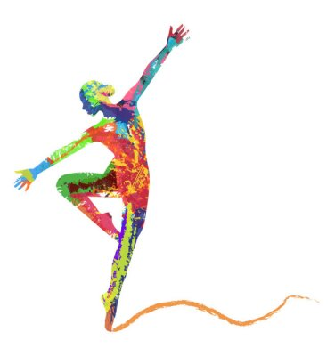 Fototapete Silhouette di Ballerina composta da colori