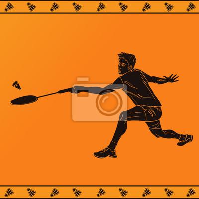 Silhouette einer professionellen Badmintonspieler