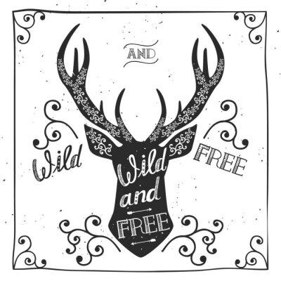 Fototapete Silhouette eines Hirsches. Hand gezeichnetes Typografieplakat, Grußkarte, für T-Shirt Entwurf