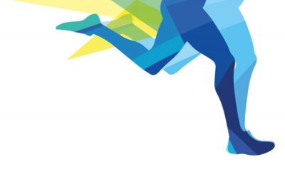 Fototapete Silhouette eines Mannes laufenden Beinen transparente Overlay-Farben